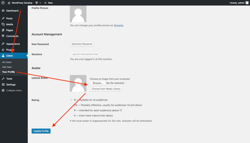 WordPress dashboard: Your Profile screen