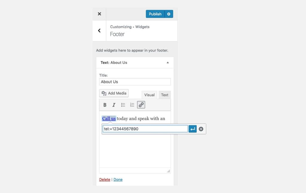 Customizer: adding a phone number link to the widget area