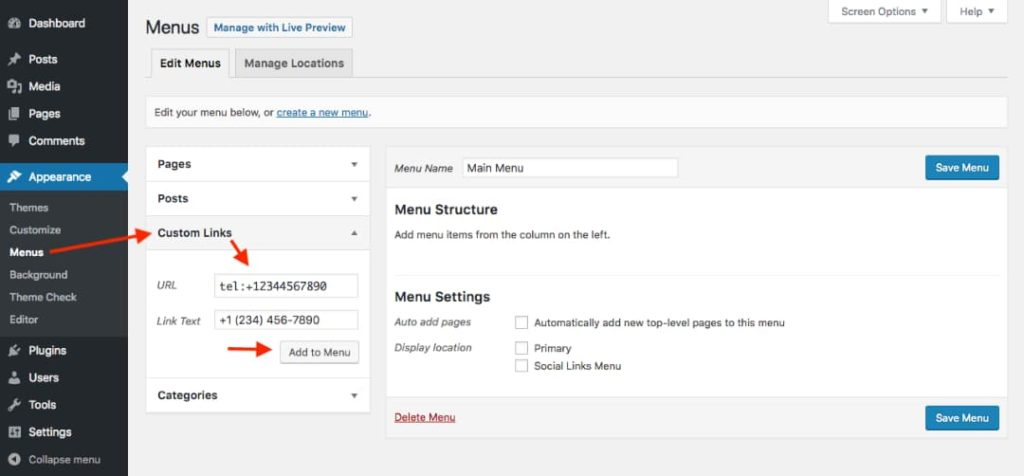 WordPress dashboard: Menus page
