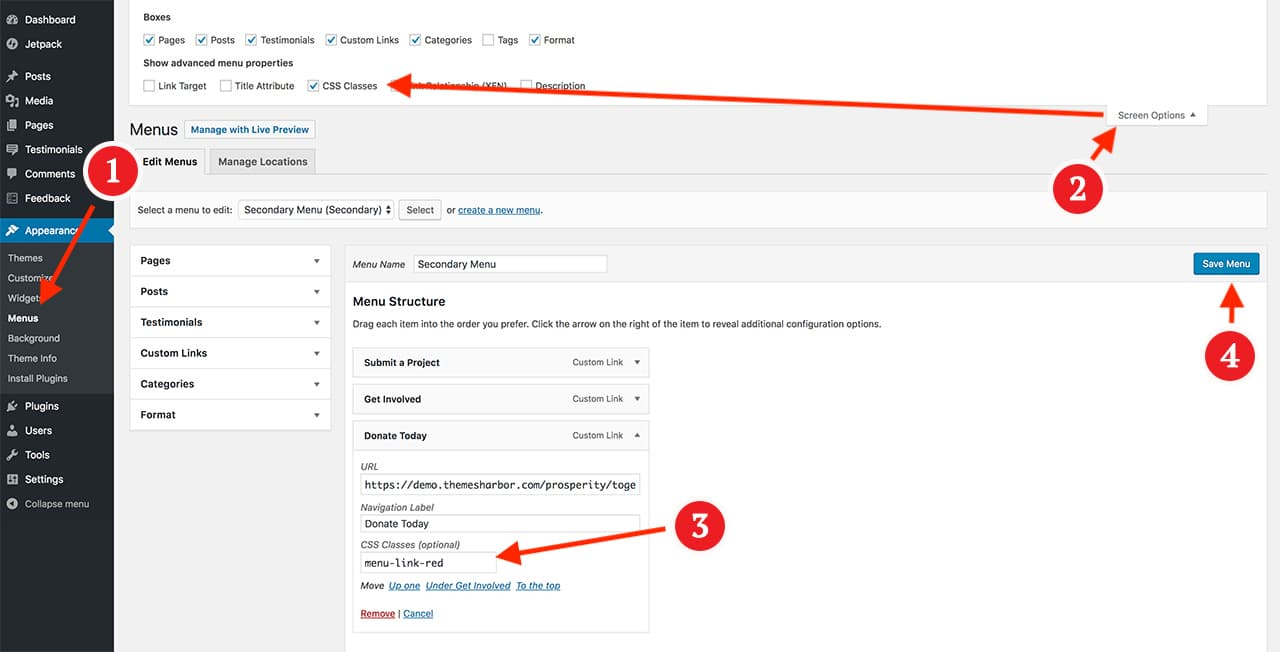 Adding a custom class to WordPress menu via dashboard