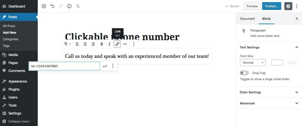 WordPress block editor: adding a phone number link