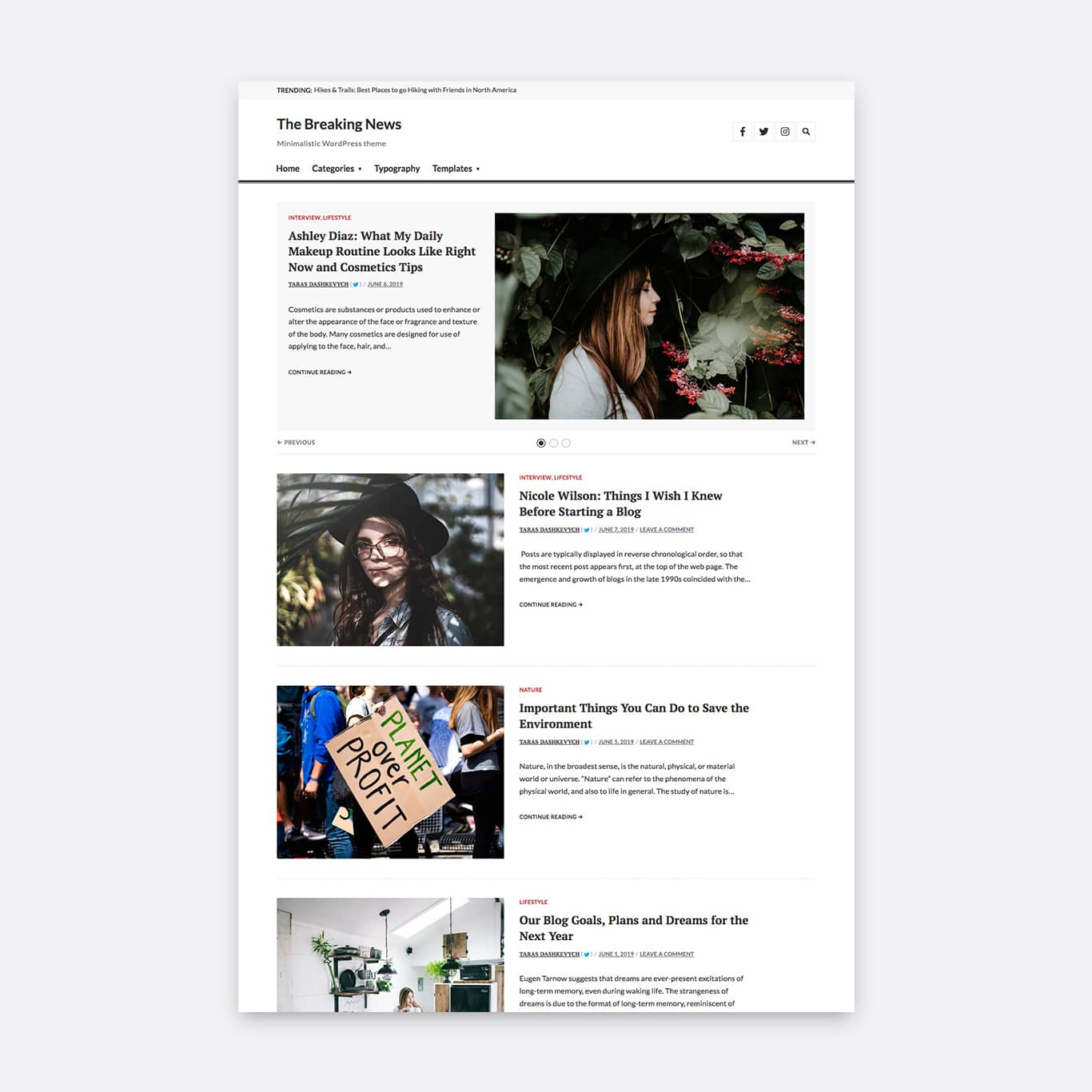 One column layout with an inactive sidebar and a vertical image orientation.