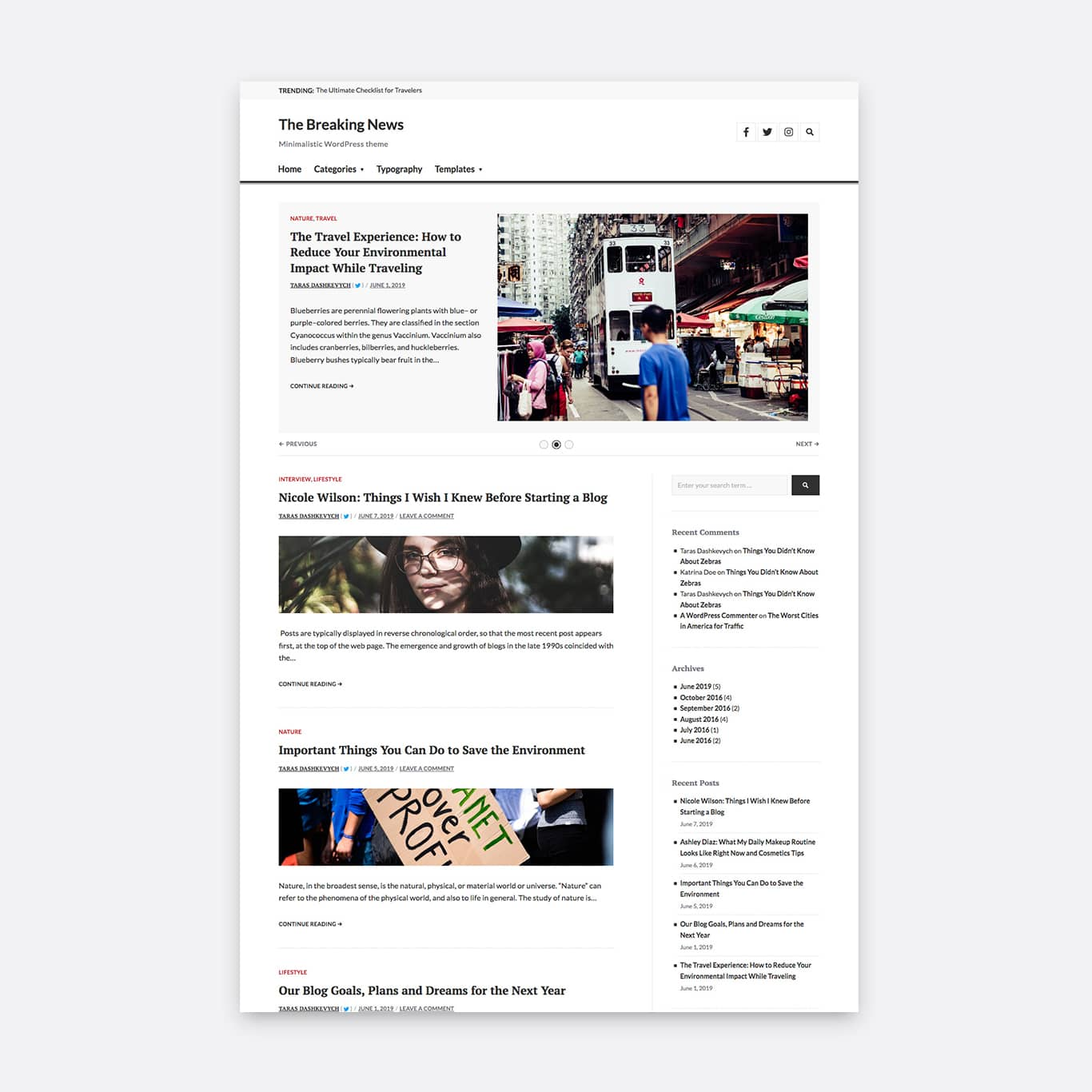 One column layout with an active sidebar and horizontal image orientation.