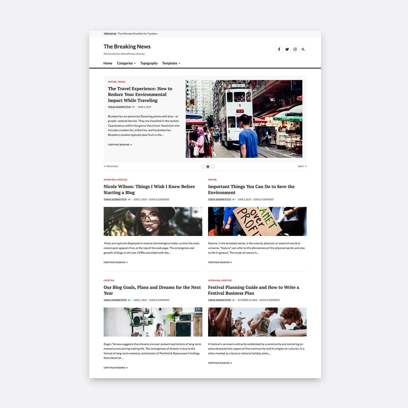 Two columns layout with an inactive sidebar and a horizontal image orientation.