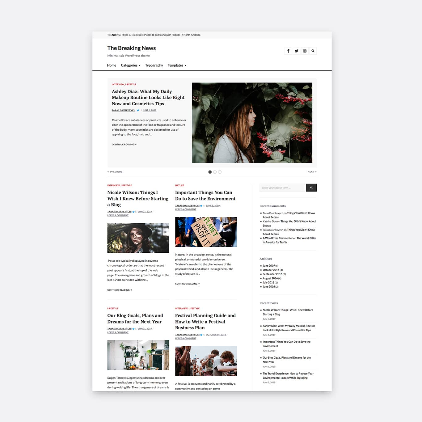 Two columns layout with an active sidebar and a horizontal image orientation.