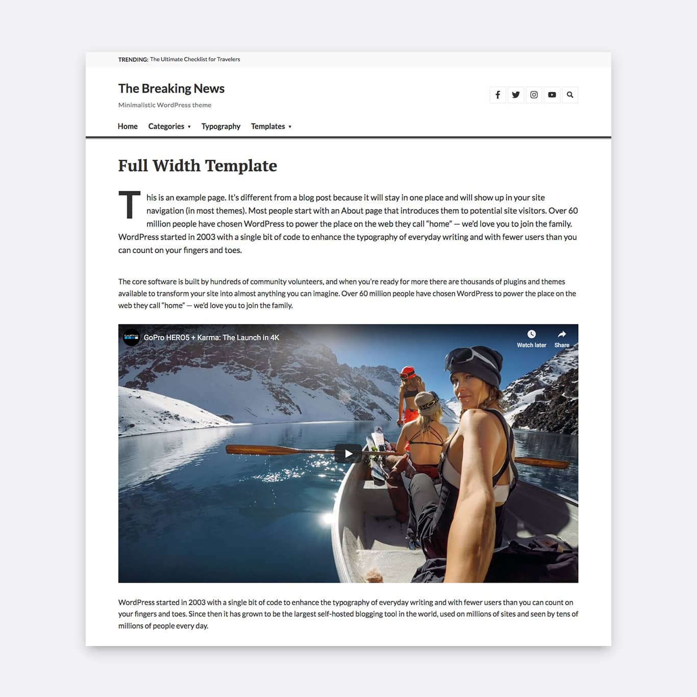 The Full-Width Page template