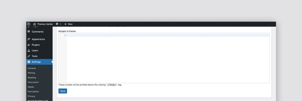 This is a preview of the textarea where you can add your custom footer code using the plugin.